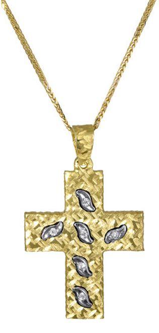 Βαπτιστικοί Σταυροί με Αλυσίδα Χρυσός σταυρός βάπτισης c017389 017389C Γυναικείο Χρυσός 14 Καράτια