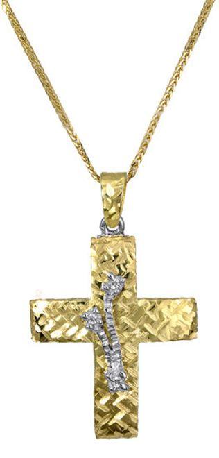 Βαπτιστικοί Σταυροί με Αλυσίδα Χρυσός σταυρός βάπτισης c017390 017390C Γυναικείο Χρυσός 14 Καράτια