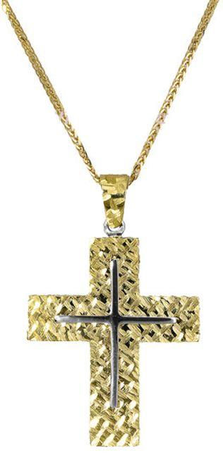 Βαπτιστικοί Σταυροί με Αλυσίδα Χρυσός σταυρός c017396 017396C Ανδρικό Χρυσός 14 Καράτια