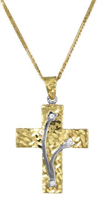 Βαπτιστικοί Σταυροί με Αλυσίδα Γυναικείος σταυρός c017401 017401C Γυναικείο Χρυσός 14 Καράτια