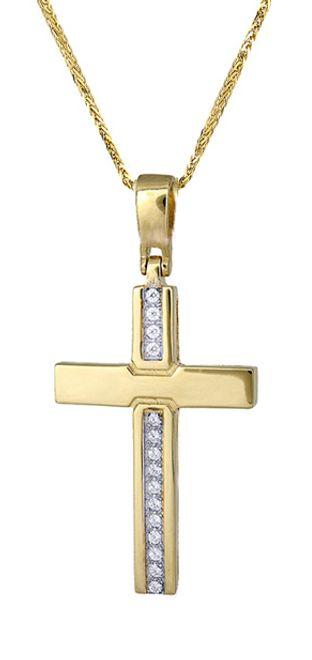 Βαπτιστικοί Σταυροί με Αλυσίδα Χρυσός γυναικείος σταυρός c017414 017414C Γυναικείο Χρυσός 14 Καράτια
