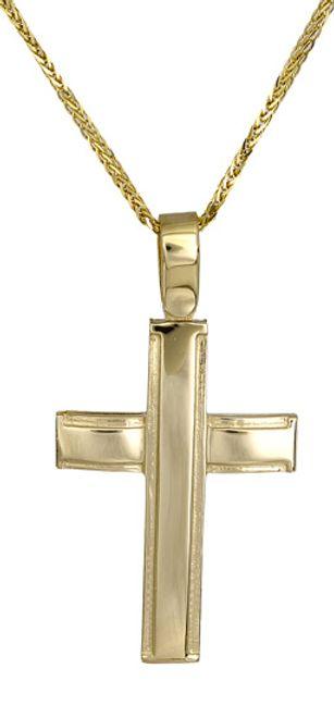 Βαπτιστικοί Σταυροί με Αλυσίδα Ανδρικός σταυρός c017422 017422C Ανδρικό Χρυσός 14 Καράτια