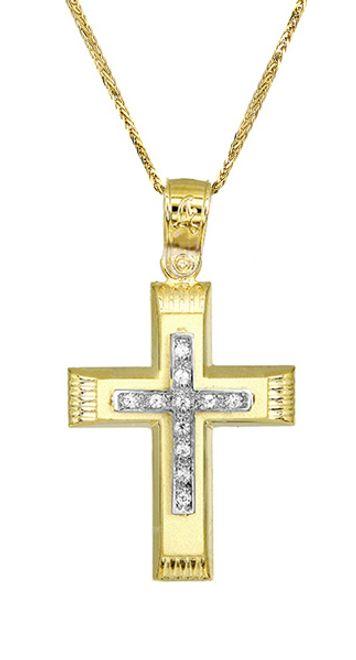 Βαπτιστικοί Σταυροί με Αλυσίδα Γυναικείος χρυσός σταυρός c017506 017506C Γυναικείο Χρυσός 14 Καράτια