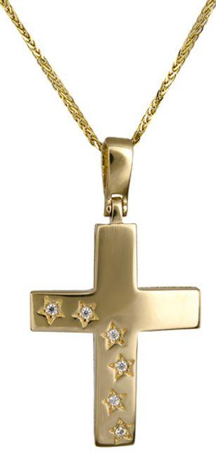 Βαπτιστικοί Σταυροί με Αλυσίδα Σταυρός για κορίτσι c017594 017594C Γυναικείο Χρυσός 14 Καράτια