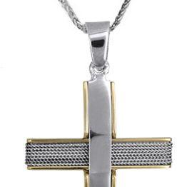 Βαπτιστικοί Σταυροί με Αλυσίδα Ανδρικός δίχρωμος σταυρός c017606 017606C Ανδρικό Χρυσός 14 Καράτια