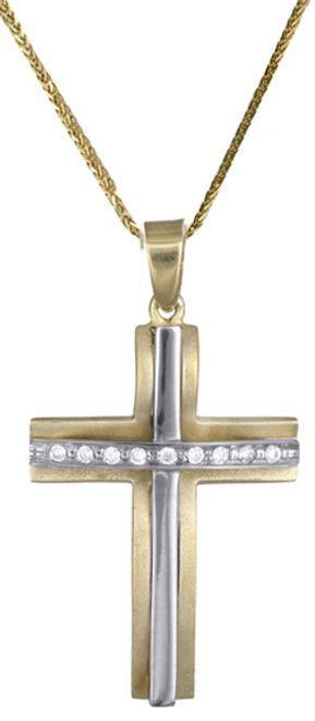 Βαπτιστικοί Σταυροί με Αλυσίδα Γυναικείος σταυρός c017704 017704C Γυναικείο Χρυσός 14 Καράτια