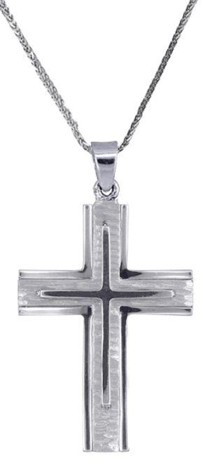 Βαπτιστικοί Σταυροί με Αλυσίδα Λευκόχρυσος ανδρικός σταυρός c017708 017708C Ανδρικό Χρυσός 14 Καράτια