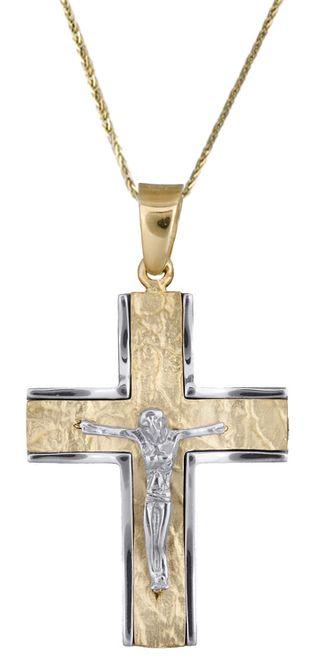 Βαπτιστικοί Σταυροί με Αλυσίδα Ανδρικός σταυρός c017853 017853C Ανδρικό Χρυσός 14 Καράτια