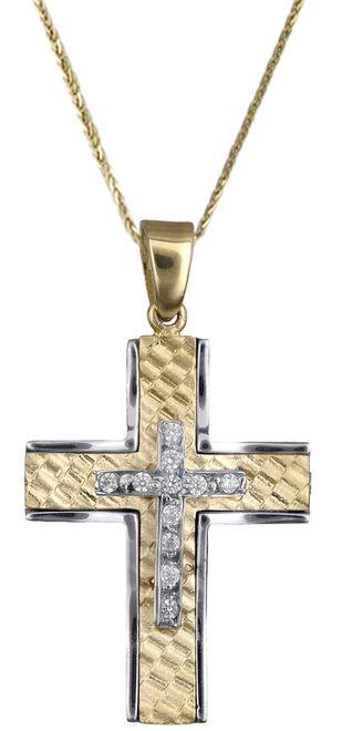 Βαπτιστικοί Σταυροί με Αλυσίδα Γυναικείος σταυρός δίχρωμος C017856 017856C Γυναικείο Χρυσός 14 Καράτια