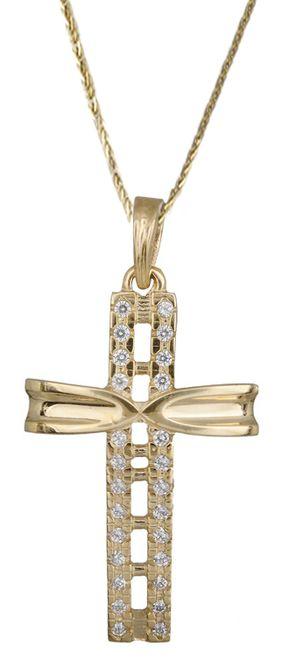 Βαπτιστικοί Σταυροί με Αλυσίδα Χρυσός γυναικείος σταυρός 14Κ C017889 017889C Γυναικείο Χρυσός 14 Καράτια