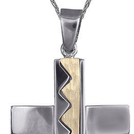 Βαπτιστικοί Σταυροί με Αλυσίδα Ανδρικοί σταυροί δίχρωμος 14Κ c018021 018021C Ανδρικό Χρυσός 14 Καράτια