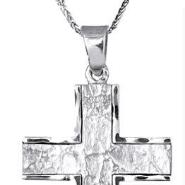Βαπτιστικοί Σταυροί με Αλυσίδα Λευκόχρυσος ανδρικός σταυρός με αλυσίδα c018146 018146C Ανδρικό Χρυσός 14 Καράτια