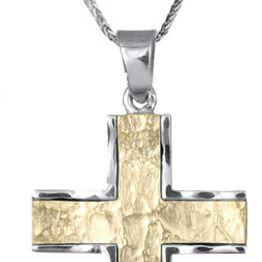 Βαπτιστικοί Σταυροί με Αλυσίδα Ανδρικός δίχρωμος σταυρός C012492 012492C Ανδρικό Χρυσός 9 Καράτια
