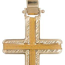 Βαπτιστικοί Σταυροί με Αλυσίδα Χρυσός σταυρός ανδρικός με σύρμα Κ14 C019290 019290C Ανδρικό Χρυσός 14 Καράτια