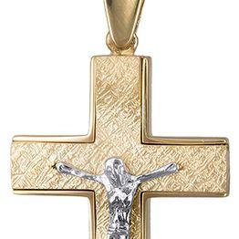 Βαπτιστικοί Σταυροί με Αλυσίδα Ανδρικός δίχρωμος σταυρός 14Κ C019453 019453C Ανδρικό Χρυσός 14 Καράτια