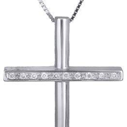 Βαπτιστικοί Σταυροί με Αλυσίδα Λευκόχρυσος σταυρός 18Κ με brilliant C019900 019900C Γυναικείο Χρυσός 18 Καράτια