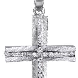 Βαπτιστικοί Σταυροί με Αλυσίδα Γυναικείος λευκόχρυσος σταυρός 14Κ με αλυσίδα C022043 022043C Γυναικείο Χρυσός 14 Καράτια
