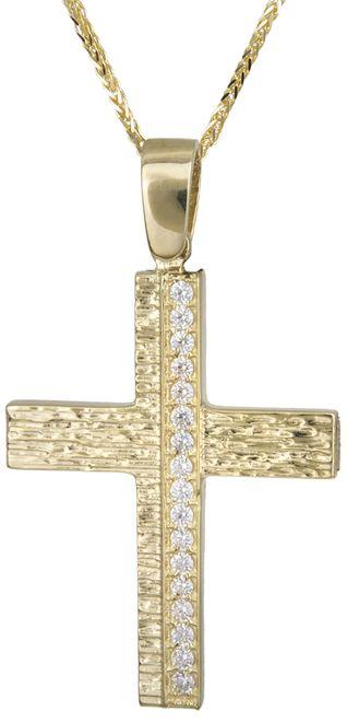 Βαπτιστικοί Σταυροί με Αλυσίδα Ανάγλυφος γυναικείος σταυρός 14Κ C022132 022132C Γυναικείο Χρυσός 14 Καράτια