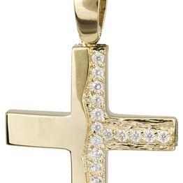 Βαπτιστικοί Σταυροί με Αλυσίδα Χρυσός γυναικείος σταυρός με αλυσίδα 14Κ C022134 022134C Γυναικείο Χρυσός 14 Καράτια