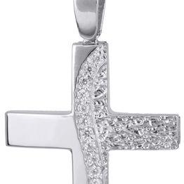Βαπτιστικοί Σταυροί με Αλυσίδα Λευκόχρυσος γυναικείος σταυρός με αλυσίδα 14Κ C022140 022140C Γυναικείο Χρυσός 14 Καράτια