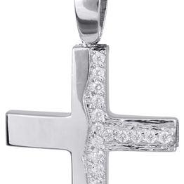 Βαπτιστικοί Σταυροί με Αλυσίδα Λευκόχρυσος σταυρός για κορίτσι με αλυσίδα 14Κ C022143 022143C Γυναικείο Χρυσός 14 Καράτια