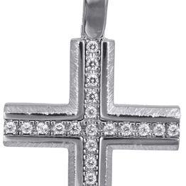 Βαπτιστικοί Σταυροί με Αλυσίδα Γυναικείος λευκόχρυσος σταυρός με αλυσίδα 14Κ C022830 022830C Γυναικείο Χρυσός 14 Καράτια