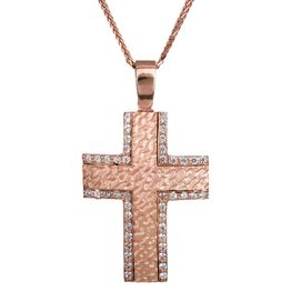 Βαπτιστικοί Σταυροί με Αλυσίδα Ανάγλυφος ροζ gold σταυρός με αλυσίδα 14Κ 023825C 023825C Γυναικείο Χρυσός 14 Καράτια