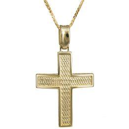 Βαπτιστικοί Σταυροί με Αλυσίδα Ανάγλυφος σταυρός με αλυσίδα Κ14 024237C 024237C Ανδρικό Χρυσός 14 Καράτια