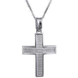 Βαπτιστικοί Σταυροί με Αλυσίδα Ανάγλυφος λευκόχρυσος σταυρός Κ14 024238C 024238C Ανδρικό Χρυσός 14 Καράτια