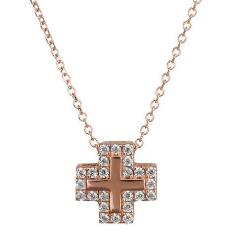 Kολιέ με σταυρουδάκι ροζ gold 14 Κ με ζιργκόν 024325 024325 Χρυσός 14 Καράτια