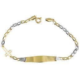 Δίχρωμη ταυτότητα με σταυρουδάκι Κ14 026307 026307 Χρυσός 14 Καράτια