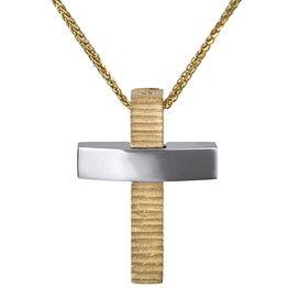 Αντρικός σταυρός Κ14 διπλής όψεως με αλυσίδα 026751C 026751C Χρυσός 14 Καράτια