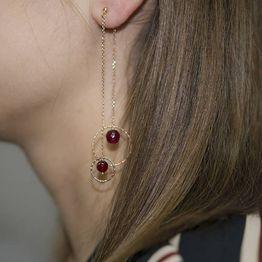 Ροζ επίχρυσα σκουλαρίκια 925 με αχάτη 027209 027209 Ασήμι