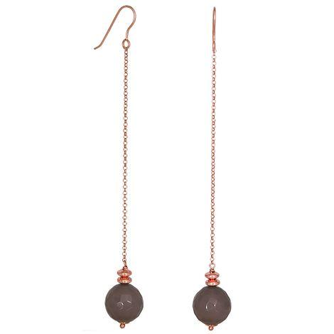 Ροζ επίχρυσα σκουλαρίκια 925 με πέτρα αχάτη 027221 027221 Ασήμι
