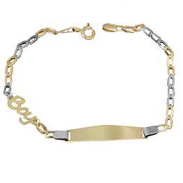 Δίχρωμη ταυτότητα Κ14 για αγοράκι 027396 027396 Χρυσός 14 Καράτια