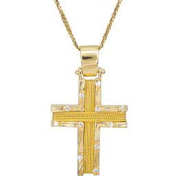 Βαπτιστικοί Σταυροί με Αλυσίδα Χειροποίητος σταυρός με αλυσίδα Κ14 συρματερός με πέτρες 028072C 028072C Γυναικείο Χρυσός 14 Καράτια
