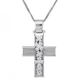 Βαπτιστικοί Σταυροί με Αλυσίδα Λευκόχρυσος σταυρός Κ 14 με αλυσίδα και σύρμα 028090C 028090C Γυναικείο Χρυσός 14 Καράτια
