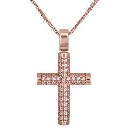 Βαπτιστικοί Σταυροί με Αλυσίδα Γυναικείος σταυρός Κ14 ροζ gold πετράτος με αλυσίδα 028507C 028507C Γυναικείο Χρυσός 14 Καράτια