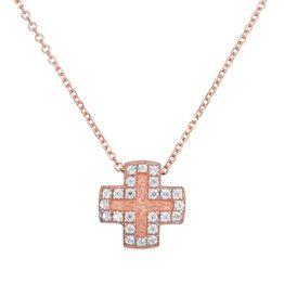 Ροζ gold Κ14 σταυρουδάκι με ζιργκόν 028898 028898 Χρυσός 14 Καράτια