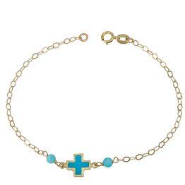 Βραχιόλι Κ14 με μπλε σταυρουδάκι 029632 029632 Χρυσός 14 Καράτια