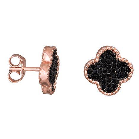 Ροζ επίχρυσα σκουλαρίκια 925 με μαύρες πέτρες ζιργκόν 030853 030853 Ασήμι