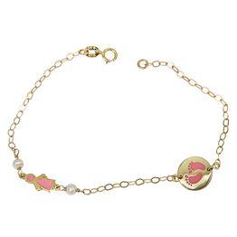 Βραχιόλι Κ14 με πατουσάκια και κοριτσάκι ροζ 031358 031358 Χρυσός 14 Καράτια