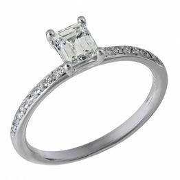 Μονόπετρο δαχτυλίδι με διαμάντι Emerald Κ18 032881 032881 Χρυσός 18 Καράτια