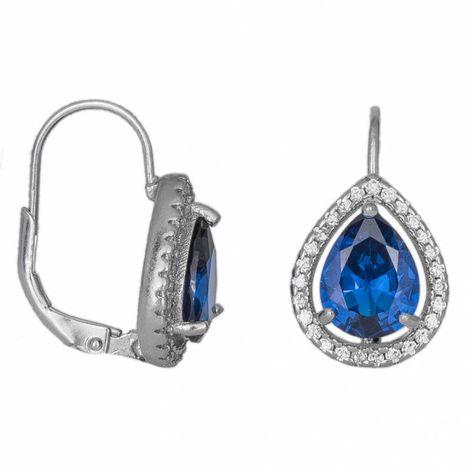 Ασημένια 925 σκουλαρίκια ροζέτες με μπλε ζιργκόν 034022 034022 Ασήμι