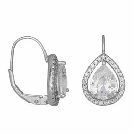 Ασημένια 925 σκουλαρίκια με ροζέτα δάκρυ 034023 034023 Ασήμι