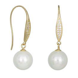 Γυναικεία επίχρυσα σκουλαρίκια 925 με κρεμαστά μαργαριτάρια 034757 034757 Ασήμι