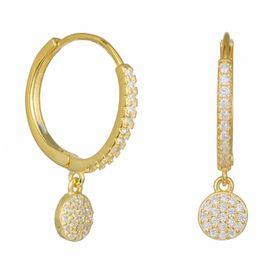 Επίχρυσα σκουλαρίκια 925 σειρέ με κρεμαστή ροζέτα 034758 034758 Ασήμι