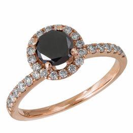 Δαχτυλίδι pink gold K18 με μαύρο διαμάντι και μπριγιάν 034850 034850 Χρυσός 18 Καράτια