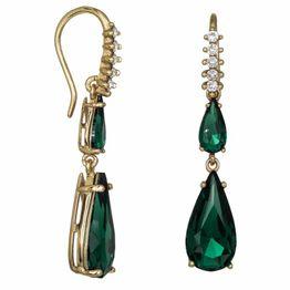 Επίχρυσα γυναικεία σκουλαρίκια 925 με πράσινες πέτρες Swarovski 034961 034961 Ασήμι