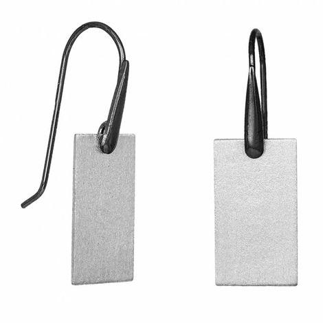 Γυναικεία ασημένια σκουλαρίκια 925 με ορθογώνιο ζαγρέ μοτίφ 034985 034985 Ασήμι
